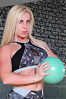 Топ женский спортивный Totalfit T-35 Черный с серым, фото 1