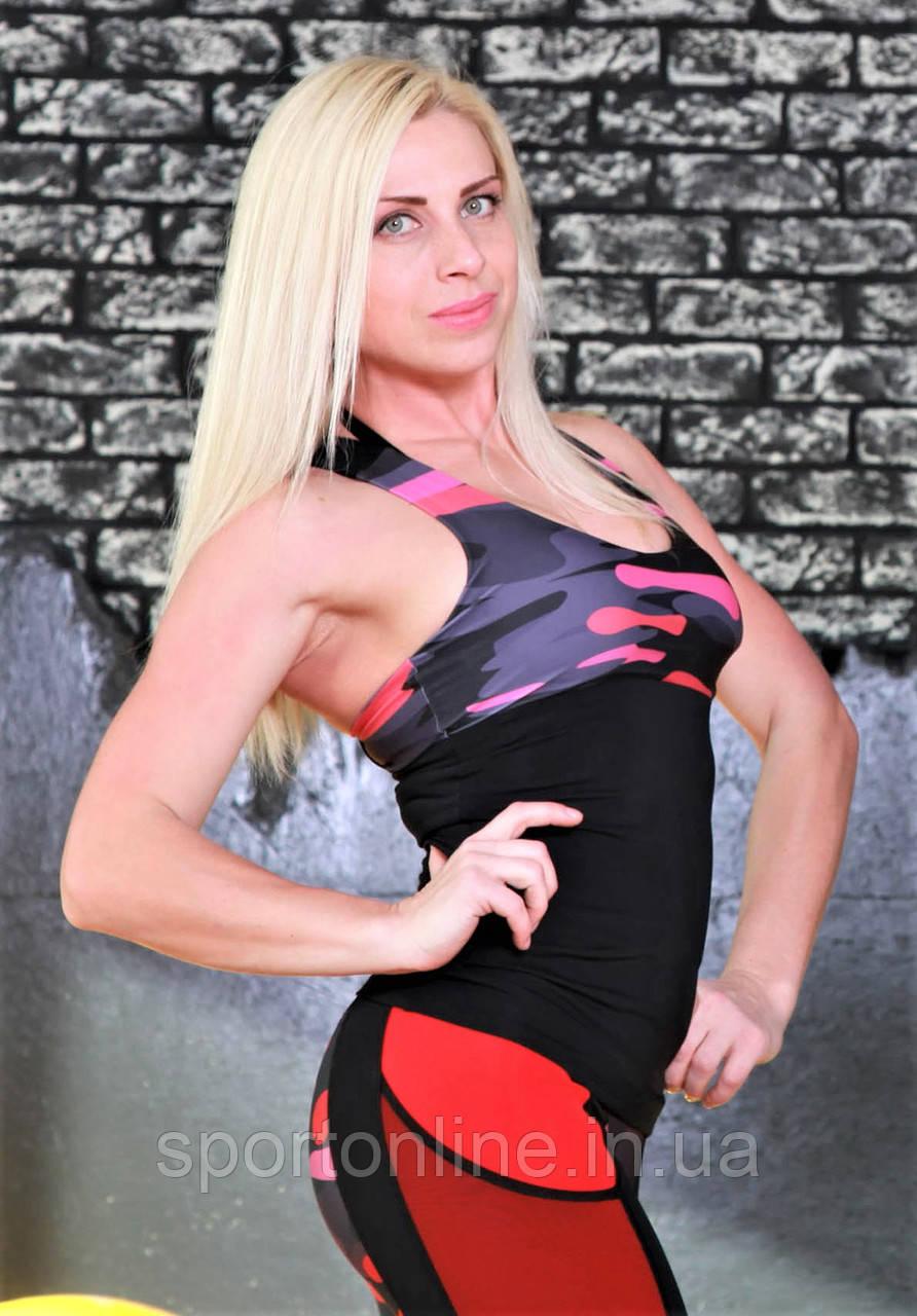 Спортивная женская майка Totlafit -11 Черный с малиновым и серым