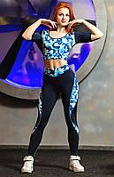 Лосины для фитнеса и спорта Totalfit темно-синий с голубым S37-P21