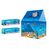 Палатка M 6137 домик подводный мир,116-78-78см,1вх-липучка,завяз,2окна-сетки,кор,44-14,5-12см