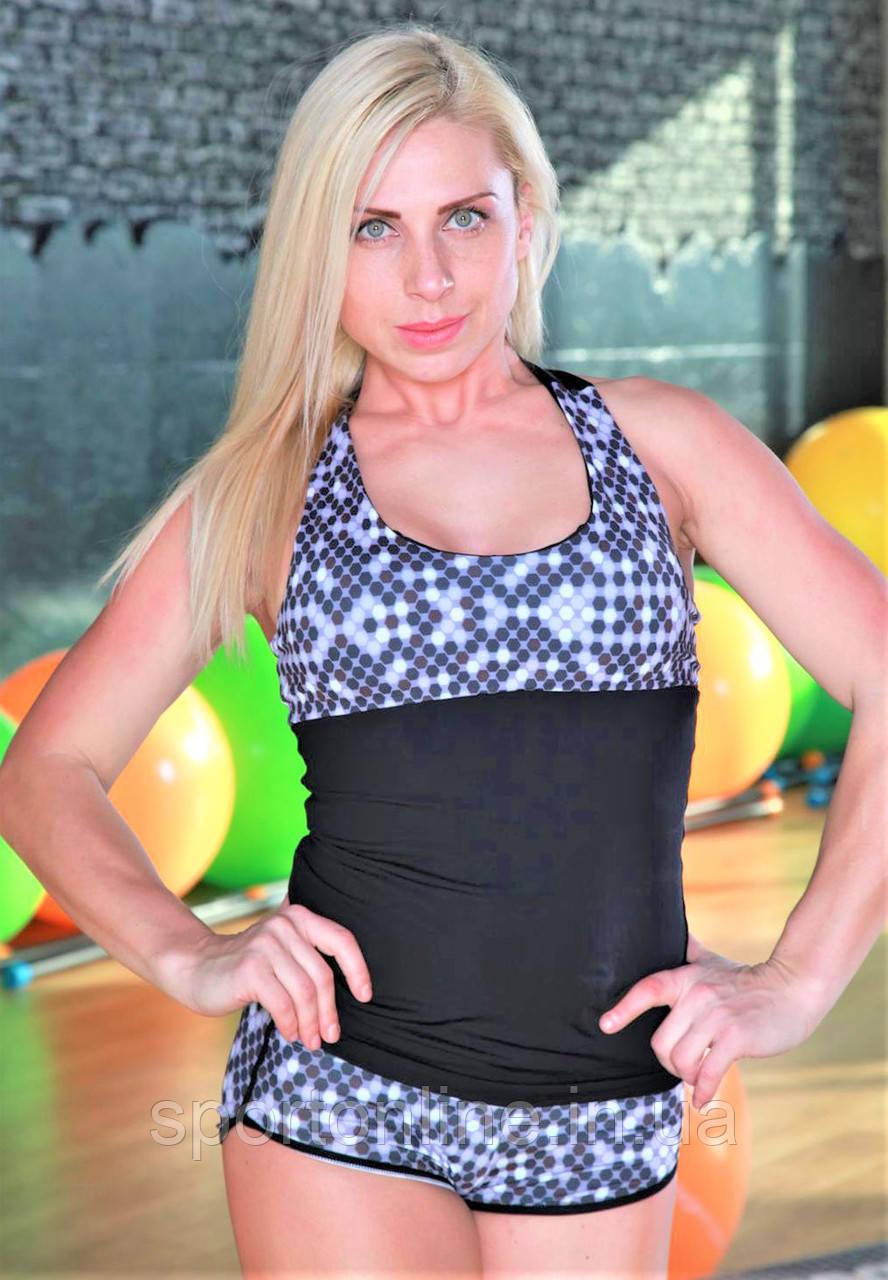 Майка женская для спорта Totalfit -11 Черный с серым