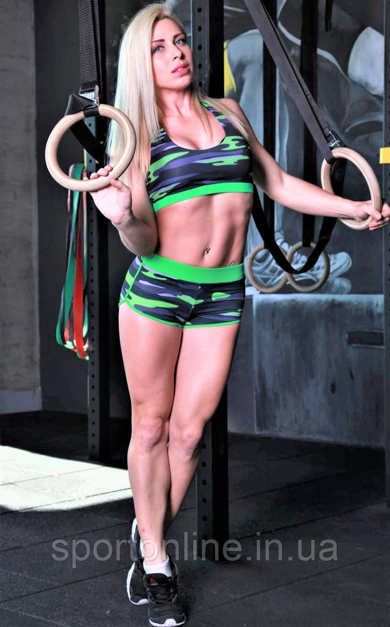 Женские спортивные шорты Totalfit H11-P24, зеленые с черным