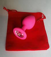 Анальная пробка розовая силикон+кристалл!