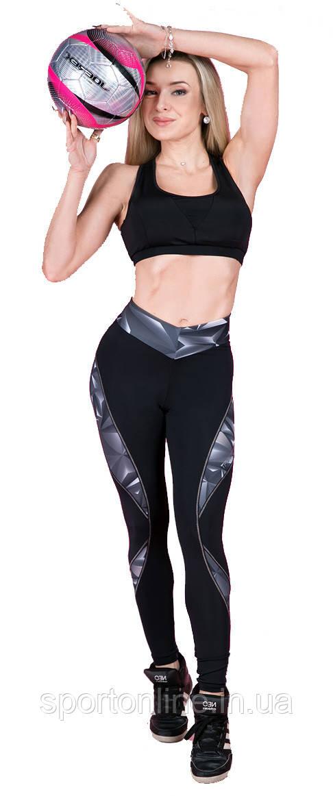 Спортивные лосины Totalfit черные с серым рисунком S37-P31