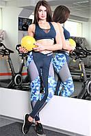 Лосины спортивные Totalfit темно-синие с голубым S28-P21, фото 1