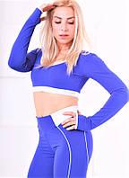 Топ для фитнеса Totalfit T13-C11/C12 синий с рукавами