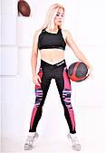 Леггинсы спортивные Totalfit черные с розовыми вставками S28-P22
