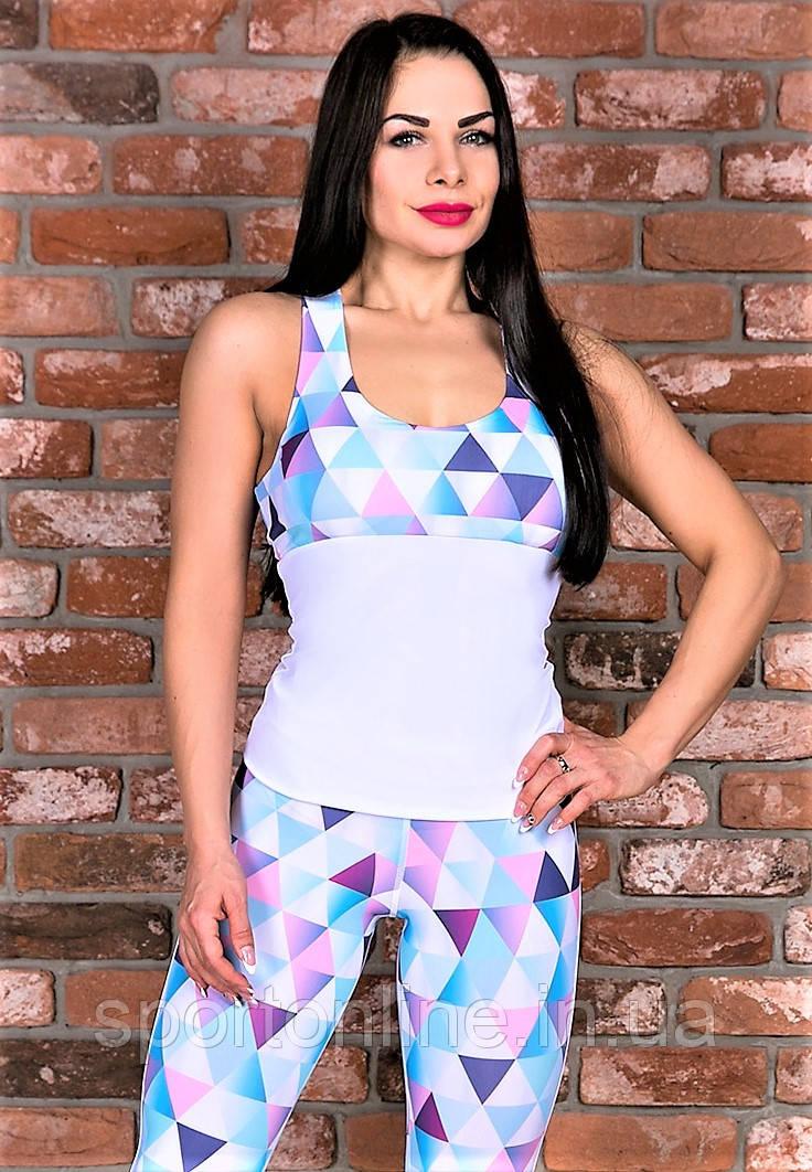 Спортивная женская майка Totalfit -11 белая в треугольники