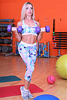 Бриджи с сеткой Totalfit L13-P26, голубой с розовым, фото 1