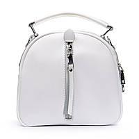 Белоснежный маленький клатч-рюкзак кожа женский (20*19*11 см) ALEX RAI, 010-1 339 white