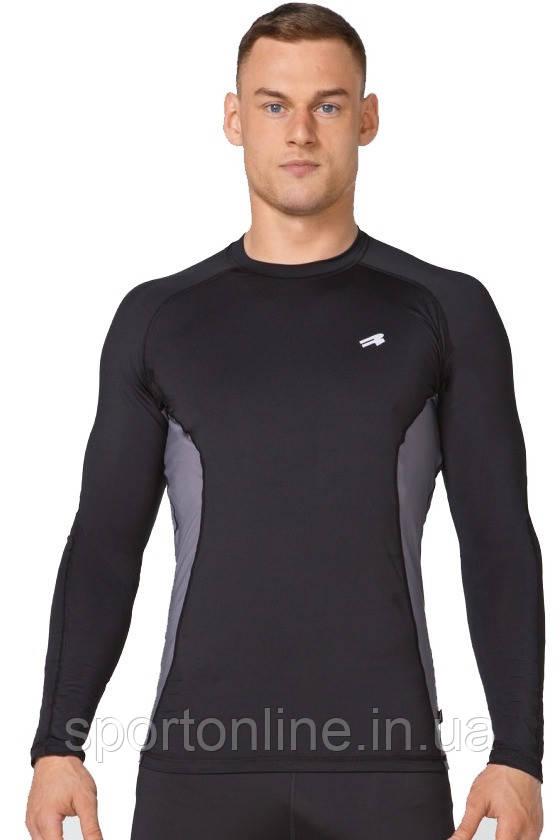 Компрессионная спортивная мужская кофта лонгслив Rough Radical Fury Duo LS чёрная с серой полоской