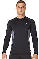 Компрессионная спортивная мужская кофта лонгслив Rough Radical Fury Duo LS чёрная с серой полоской L, фото 1