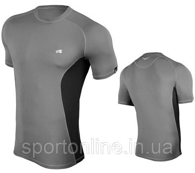 Компрессионная мужская спортивная футболка Rough Radical Fury Duo SS, серая с черными вставками