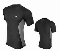 Компрессионная мужская спортивная футболка Rough Radical Fury Duo SS, черная с серыми вставками