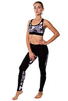 Женский спортивный костюм для фитнеса (топ и лосины) Rough Radical Caress, черный с пятнистыми вставками, фото 1