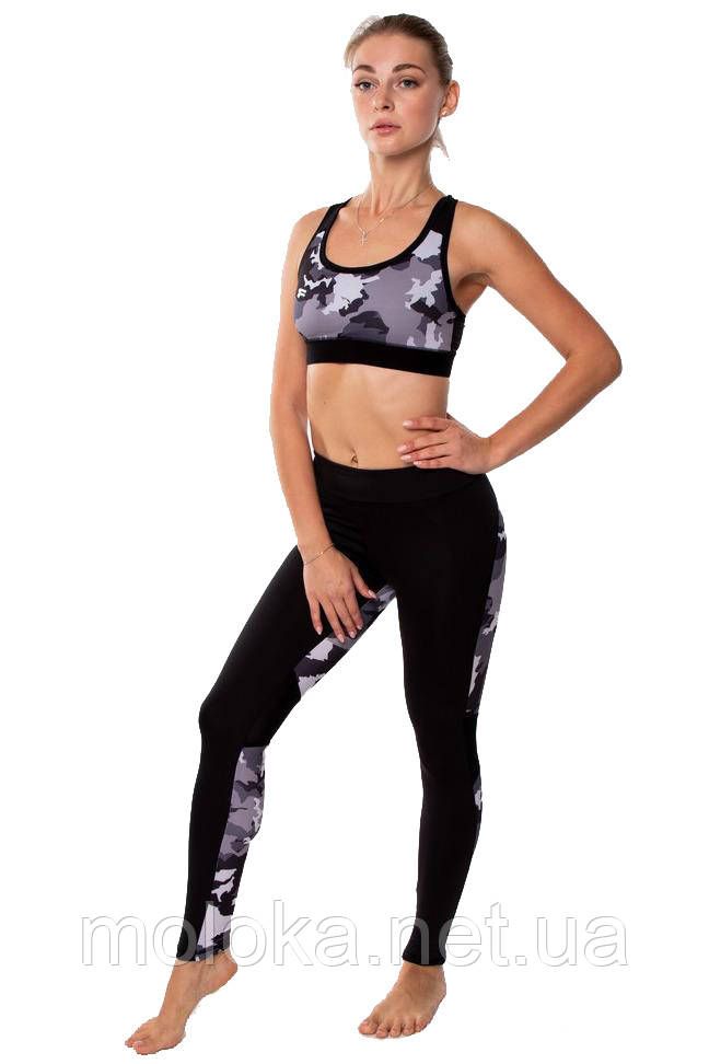 Женский спортивный костюм для фитнеса (топ и лосины) Rough Radical Caress, черный с пятнистыми вставками