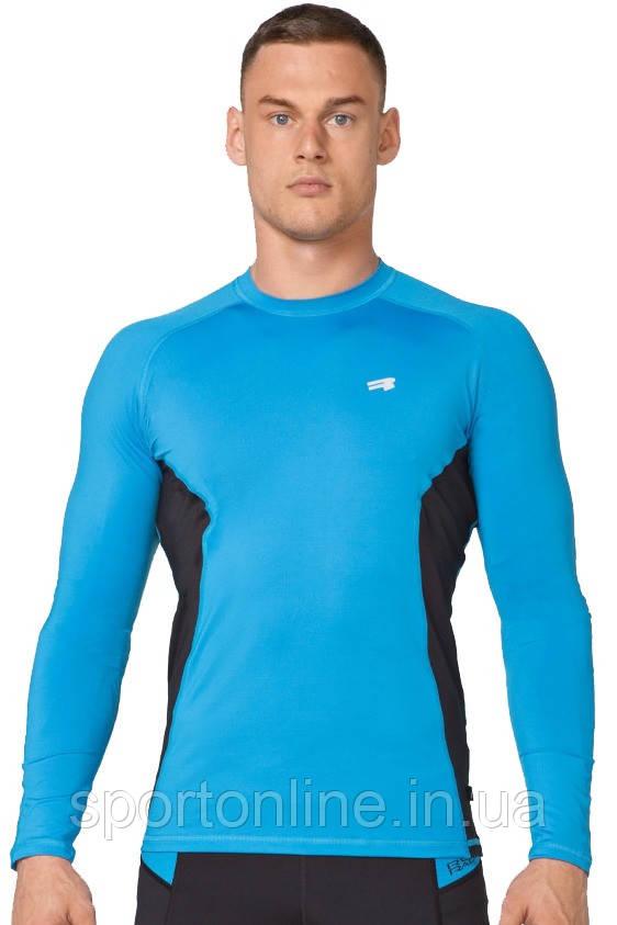 Компрессионная спортивная мужская кофта лонгслив Rough Radical Fury Duo LS голубая с черными вставками