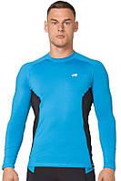 Компрессионная спортивная мужская кофта лонгслив Rough Radical Fury Duo LS голубая с черными вставками, фото 1