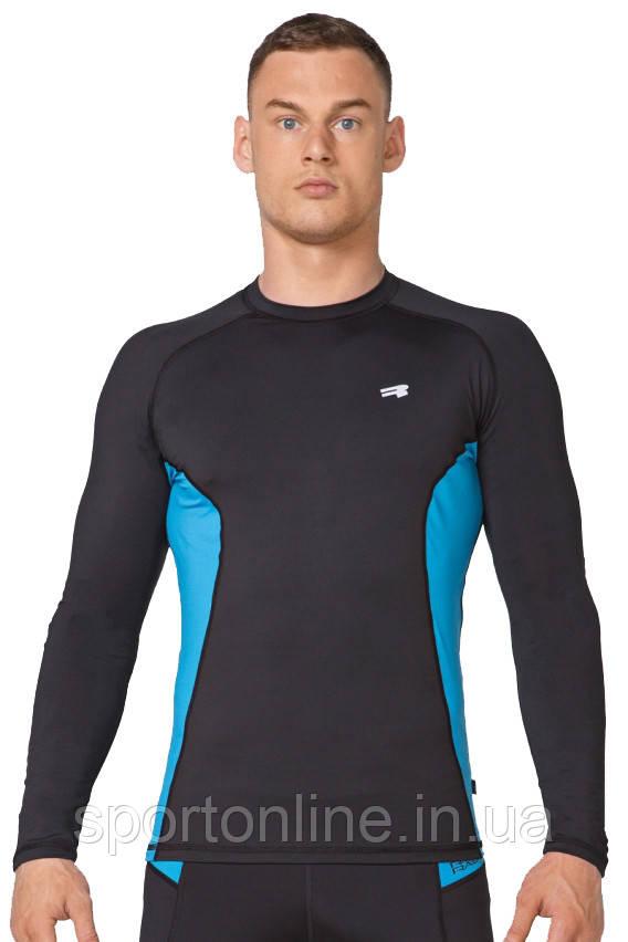 Компрессионная спортивная мужская кофта лонгслив Rough Radical Fury Duo LS чёрная с голубыми вставками