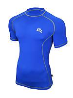 Компрессионная спортивная мужская футболка Rough Radical Spin SS голубая