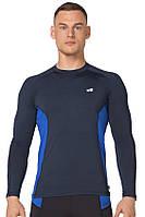 Компрессионная спортивная мужская кофта лонгслив Rough Radical Fury Duo LS тёмно-синяя с вставками
