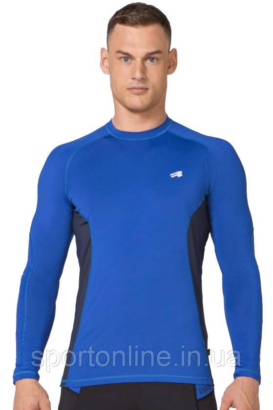 Компрессионная спортивная мужская кофта лонгслив Rough Radical Fury Duo LS синяя с вставками