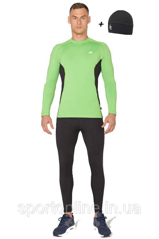Мужской спортивный костюм для бега (компрессионные тайтсы, рашгард, шапка) Radical Intensive зеленый с черным