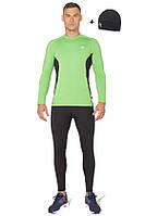 Мужской спортивный костюм для бега (компрессионные тайтсы, рашгард, шапка) Radical Intensive зеленый с черным, фото 1
