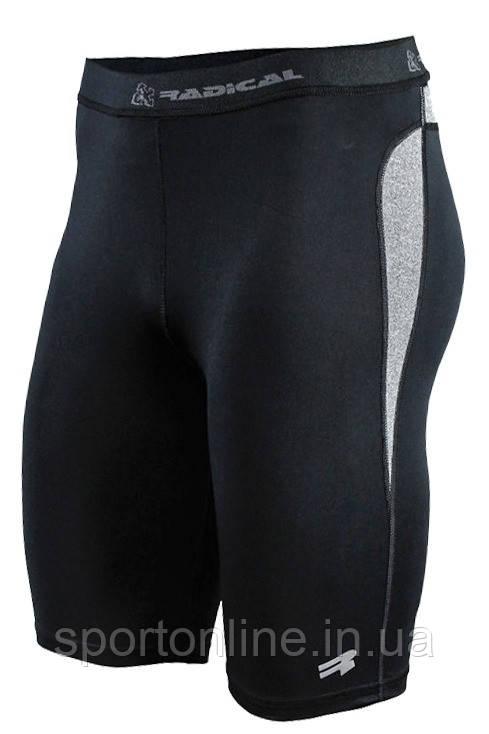 Спортивные мужские компрессионные шорты-тайтсы Rough Radical Rapid черные с серыми вставками