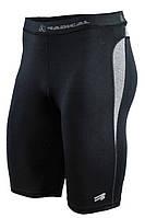 Спортивные мужские компрессионные шорты-тайтсы Rough Radical Rapid черные с серыми вставками, фото 1