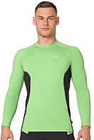 Компрессионная спортивная мужская кофта лонгслив Rough Radical Fury Duo LS светло-зеленая с черным
