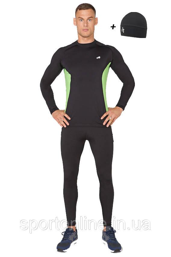 Мужской спортивный костюм для бега (компрессионные тайтсы, рашгард, шапка) Radical Intensive черный с зелеными вставками