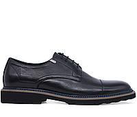 Мужские натуральные кожаные демисезонные черные классические туфли на низком каблуке Польша