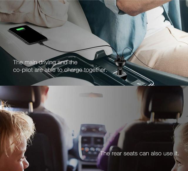Автомобильное зарядное устройство Baseus Shake-head 360°rotation 4.8A с LED дисплеем CCALL-YT01 (Черное, два USB-порта)