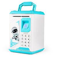 🔝 Игрушечный детский сейф с электронным кодовым замком для детей Fingerprint копилка детская (Голубая) 🎁%🚚