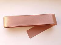 Стрічка атласна  двостороння 3 см ( 10 метрів)  рожево-бежева  G-03-485