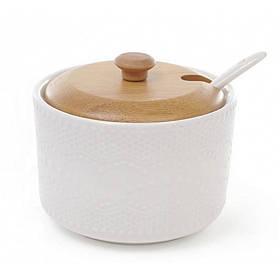 Сахарница Ceram-Bamboo 300 мл с ложкой и бамбуковой крышкой BD-289-244