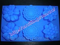 Силиконовая форма Цветы 3D  6 шт на планшете, фото 1