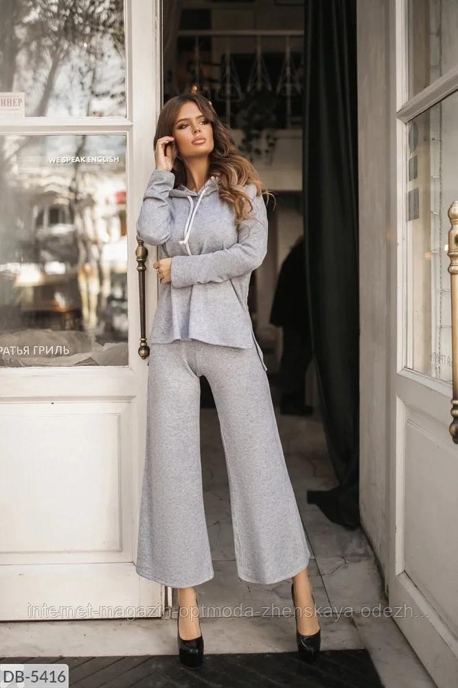 Батальный женский костюм с брюками из ангоры, серый, бежевый, размеры: 48-50, 52-54, 56-58, 42, 44, 46