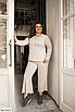 Батальный женский костюм с брюками из ангоры, серый, бежевый, размеры: 48-50, 52-54, 56-58, 42, 44, 46, фото 7