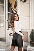 Модные женские шорты из эко-кожи больших размеров, черный, коричневый, золото, серебро, размеры: 48-50, 52-54, фото 2