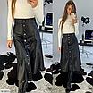 Длинная юбка из эко-кожи на пуговицах, размеры: S, M, цвета - черный, лиловый, фото 2