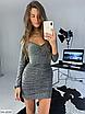 Шикарное платье мини из люрекса, размеры: S, M, цвета - черный, золото, серебро, фото 4
