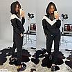 Женский спортивный костюм с капюшоном на флисе, размеры: S, M, цвета - черный, бежевый, фото 2