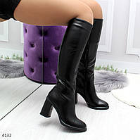 Женские демисезонные сапоги на высоком толстом каблуке черные, фото 1