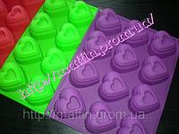 Форма силиконовая Сердце  рифленное планшет 12 шт, фото 1