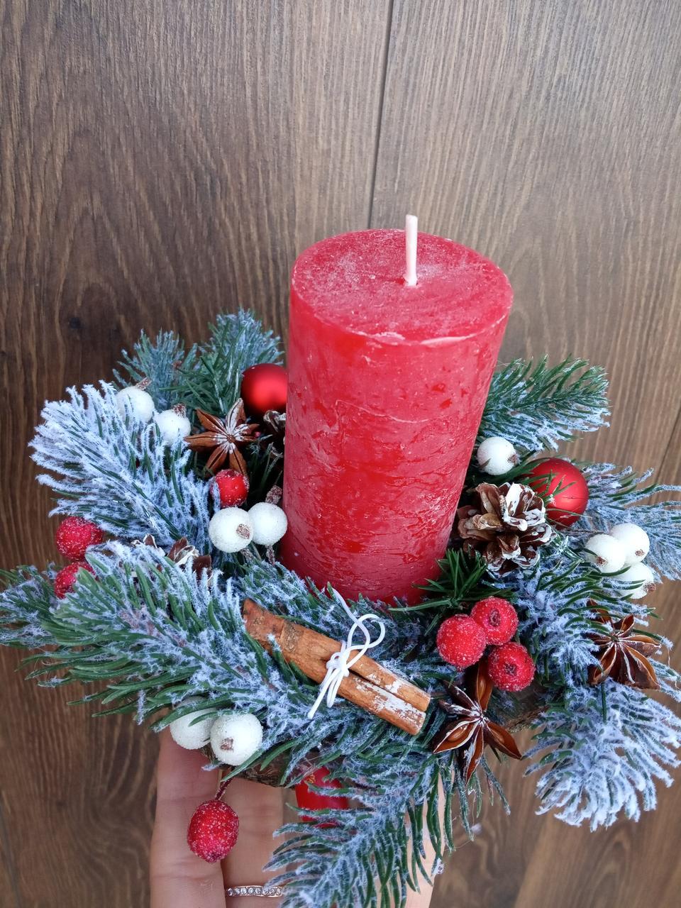 Підсвічник новорічний, різдвяний зі свічкою, Різдвяна свічка
