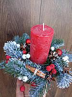 Підсвічник новорічний, різдвяний зі свічкою, Різдвяна свічка, фото 1