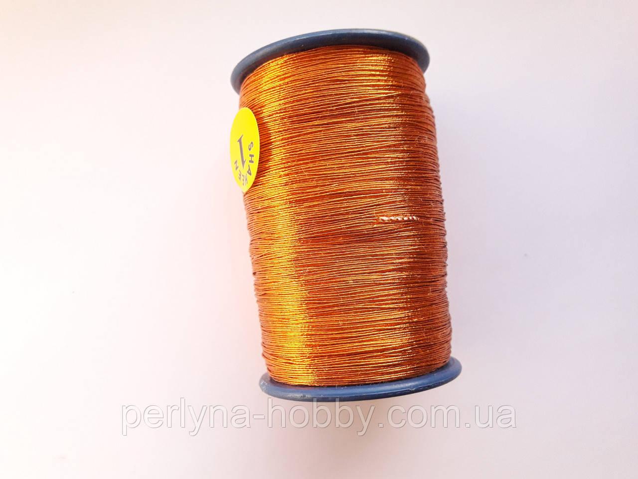 Нитка люрексова. Виключно для ручної вишивки. Мыдний, темне золото.