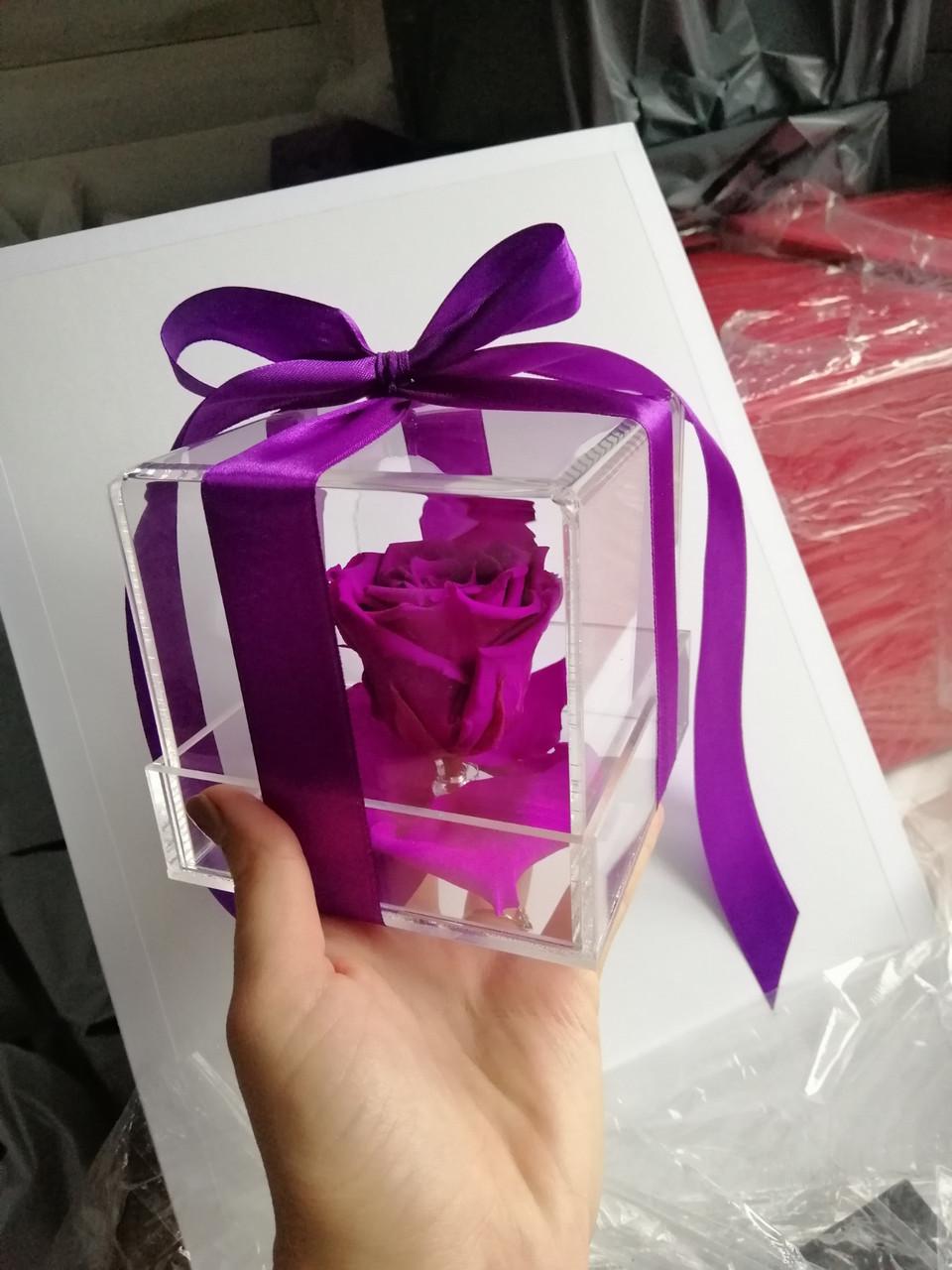 Стабилизированный бутон роза в футляре Lerosh - Standart,  Фиолетовый